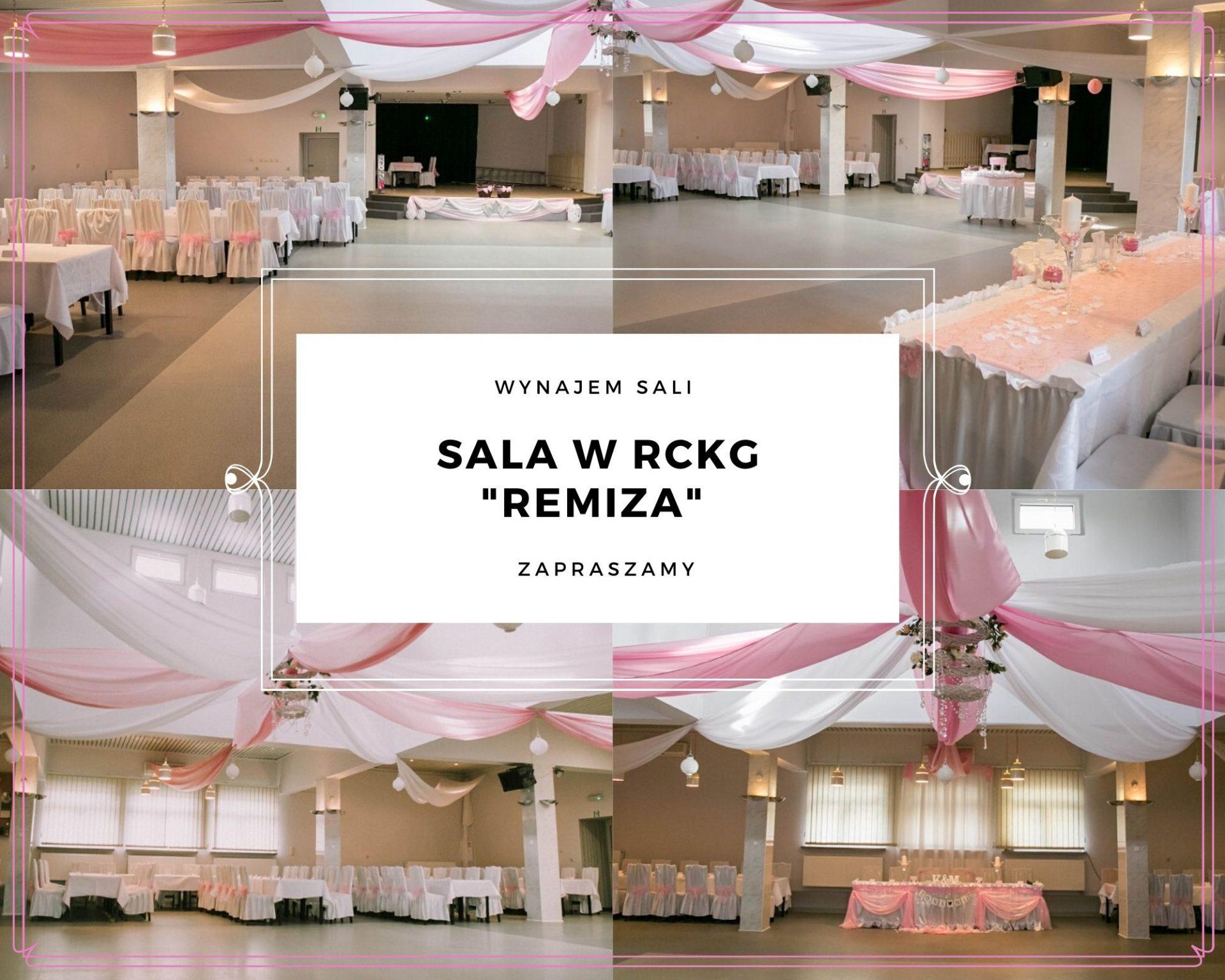 Kolaż ze zdjęć przedstawiający udekorowaną salę w RCKG Remiza